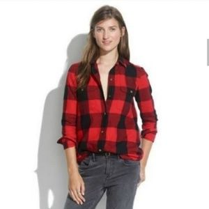 Madewell Red Plaid Tomboy Workshirt in Check